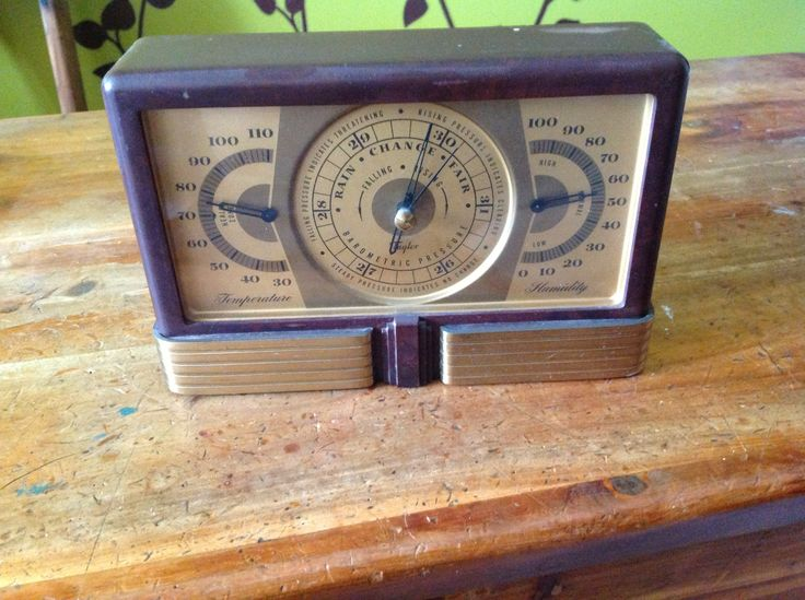 Antique metal barometer, thermometer, humidity item.  Looks great on the shelf!