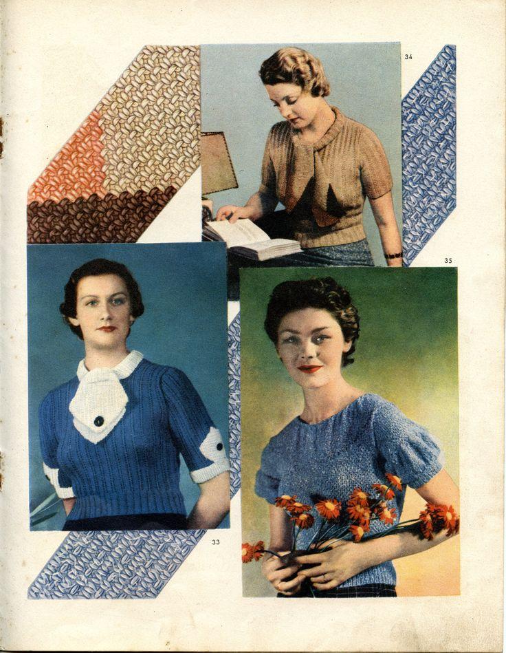 """""""pour tricoter"""" n°4 - magazine de tricot des années 30 - page centrale droite - deux jolis cols-cravate et des emmanchures basses raffinées."""