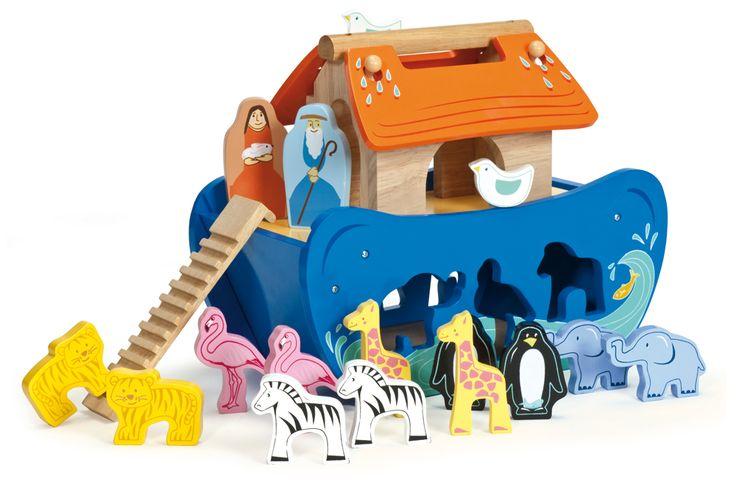 Le Toy Van Holz Arche Noah 'Sortierboot' inkl. Zubehör 11-teilig 29cm bei Fantasyroom