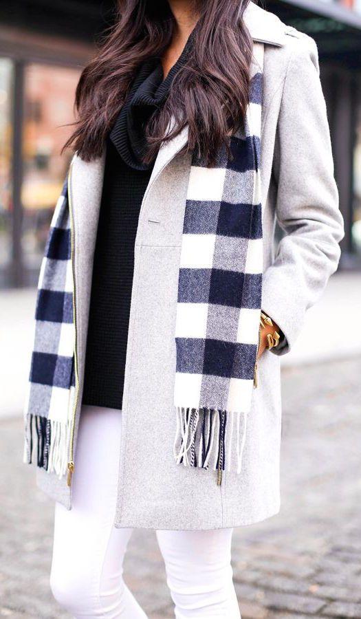 Gray coat + scarf.