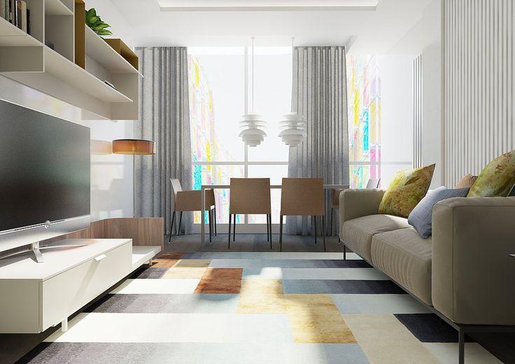 Объединение лоджии с гостиной увеличило жилую площадь квартиры и добавило больше света в пространство. Стекла дополнительно утеплены, радиатор перенесен на боковую стену. Дизайн лоджии - расположение вместительного обеденного стола на присоединенной площади. Интерьер столовой-гостиной в современном стиле в светлых тонах.