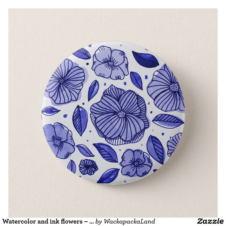 Watercolor and ink flowers – blue pinback button #buttons #pins #pinback #pinbackbutton #flowers #floral #foliage #botanical #nature #leaf #leaves #watercolor #ink #painting #drawing #doodle #blue #monochrome #zazzle