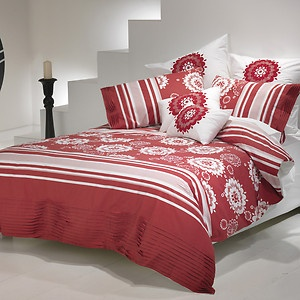 ACACIA RED  White Floral EMBR Cotton KING Size Quilt Doona Cover Set NEW $129.95