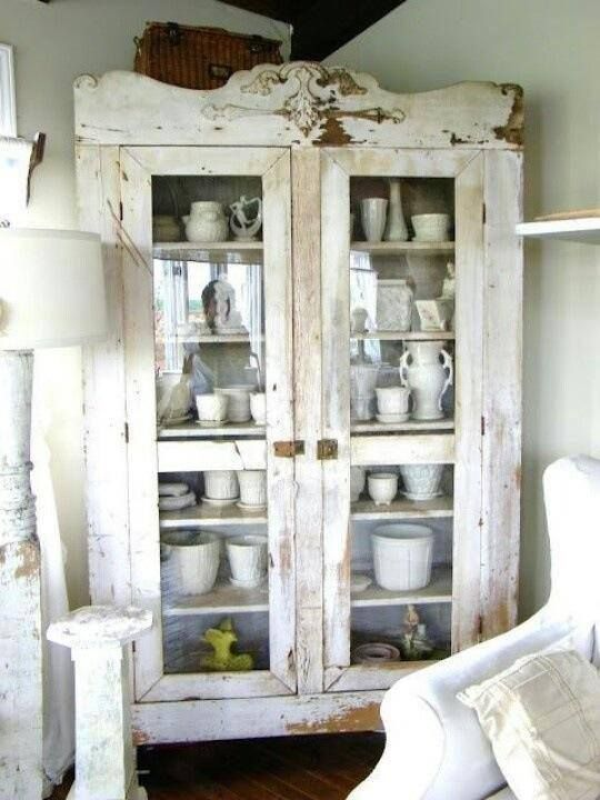 old cool chippy white cupboard