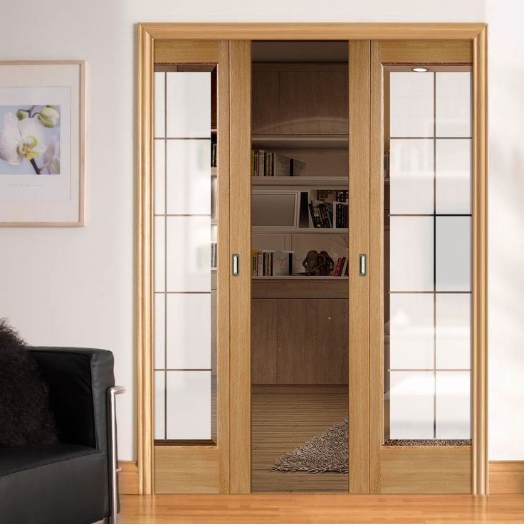 Double Pocket Seville Oak Door With Frosted Glass Including Clear Brilliant  Cut Bevel Edges And Fully Pre Finished