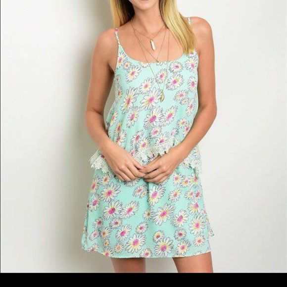 NWT ADORABLE! Daisy dress This adorable light blue dress with daisies is perfect for summertime. Features a lace trim and adjustable straps! Dress is fully lined! Only two available! Dresses Mini