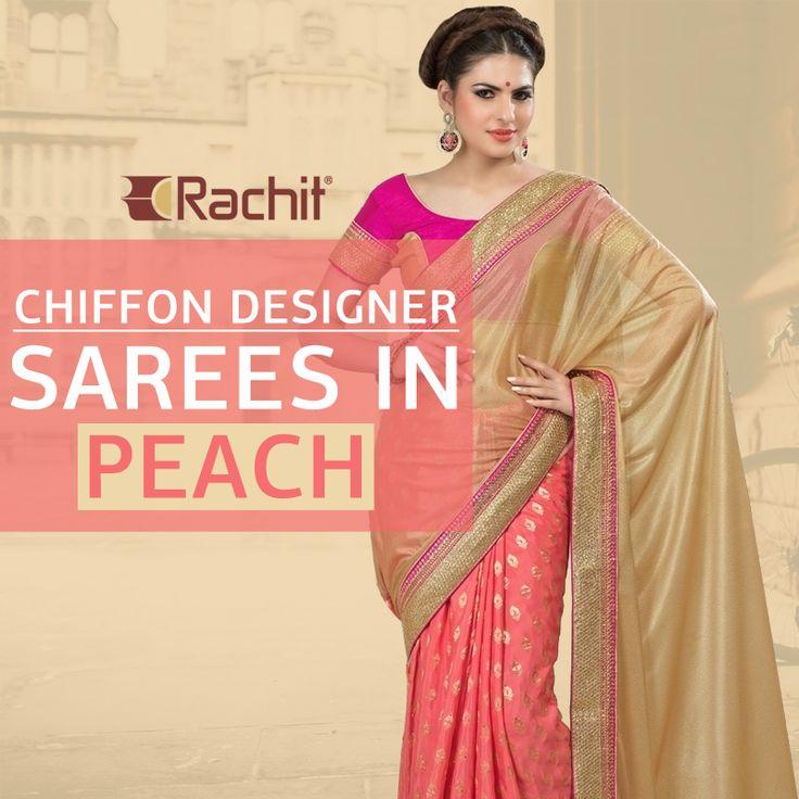 Buy Bewitching Chiffon Designer Sarees In Peach.  #saree #chiffon #designer