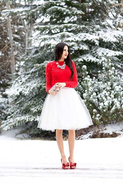 Red Top + White Tulle Skirt