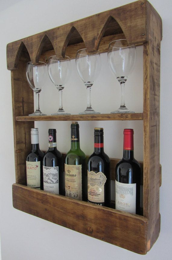 Gothic style reclaimed wood 6 bottle wine rack with wine