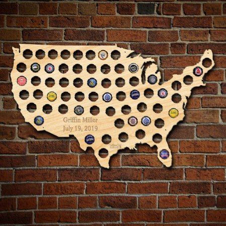 Personalized Beer Cap Map of the USA - tap to personalize and get yours