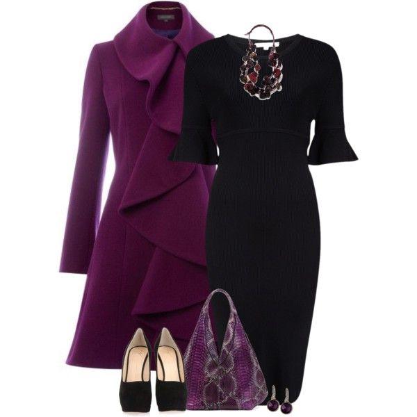 Purple ruffle coat, created by mommygerloff on Polyvore
