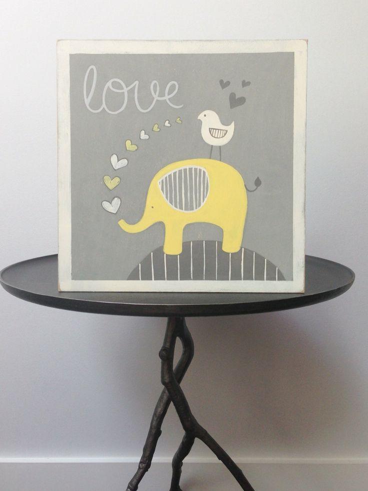 Elephant nursery decor Yellow and gray nursery by SweetBananasArt, $40.00