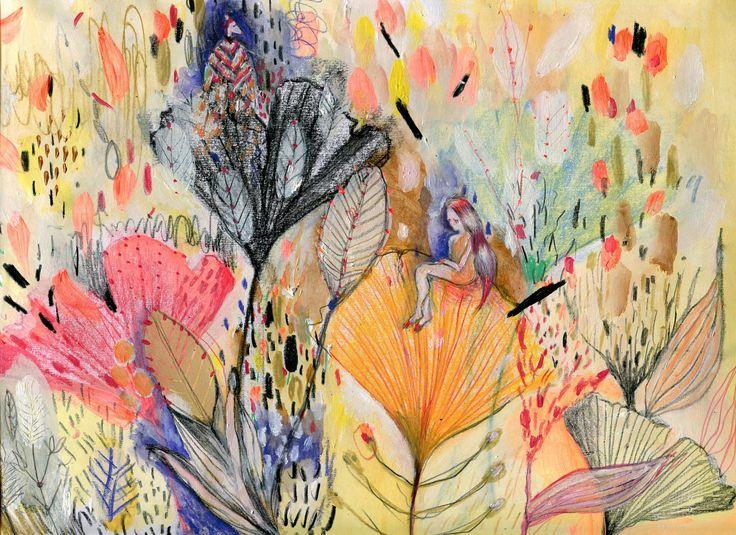 """Gingko"". Illustration by Mirella Musri. www.mirellamusri.com.ar Mixed media on paper."