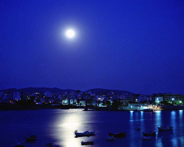 Halkida under the moonlight