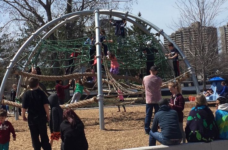 My daughter and her friend's favourite climbing structure at the park | Giver's 150 Canada-themed playground at Mooney's Bay | Ottawa Parks | Canada Park | Kids in the Capital