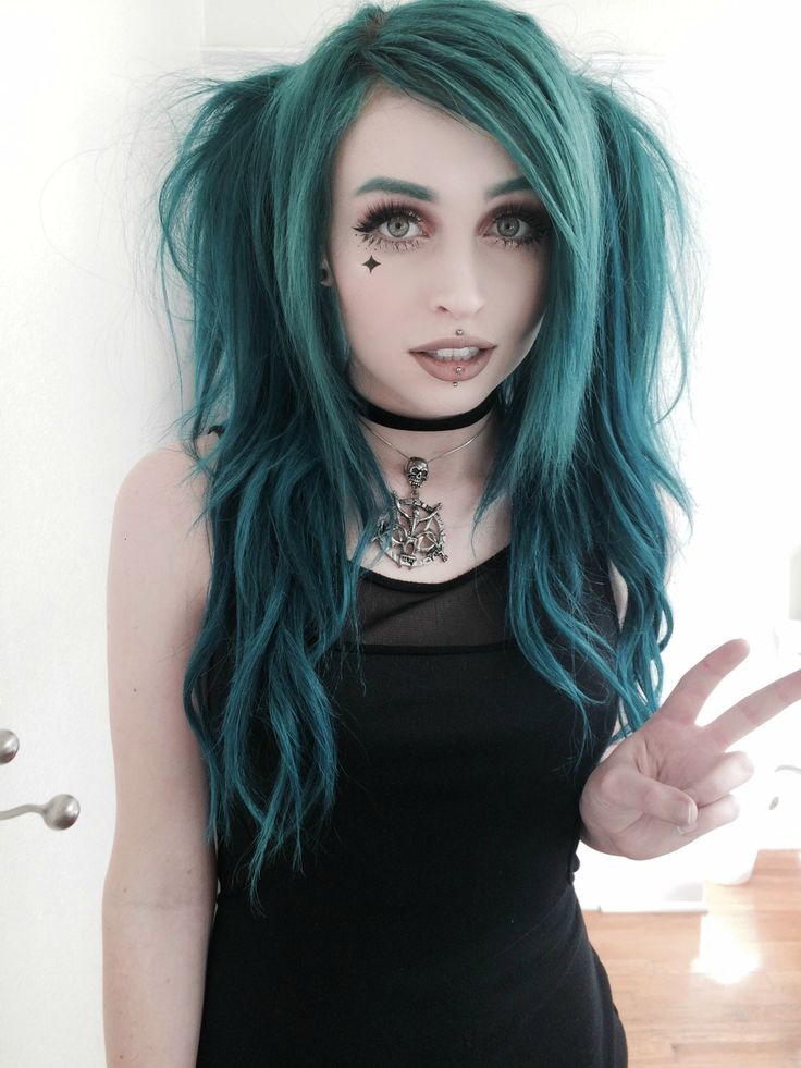 Long dark turquoise dye with bunches hairstyle by j0uzai