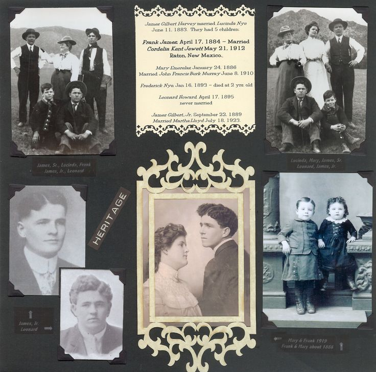James Harvey, Sr. Family ~ Traditionally designed heritage page with the look of an old-fashioned scrapbook.