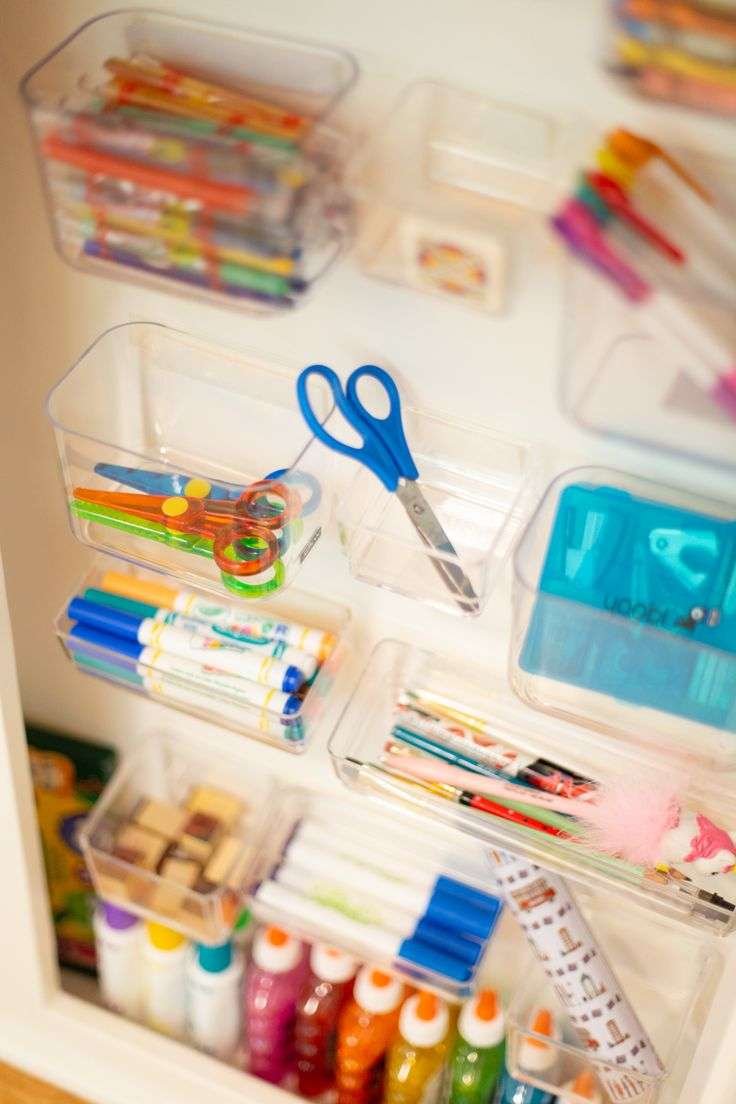 How we organize and hide all of our kids art supplies