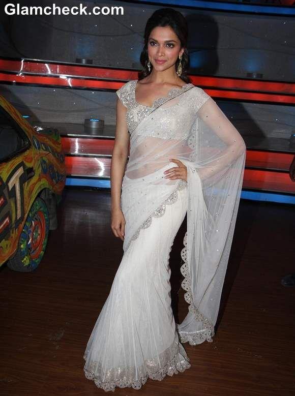 Deepika Padukone Beautiful In a Sheer White Sari
