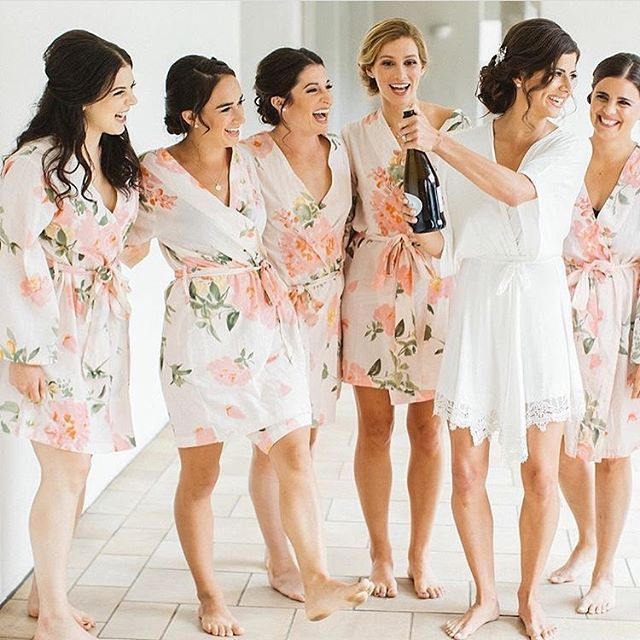Bridesmaid goals. Robes from Plum Pretty Sugar are something to enjoy again and again long after the wedding. A pretty, pretty keepsake. www.PlumPrettySugar.com