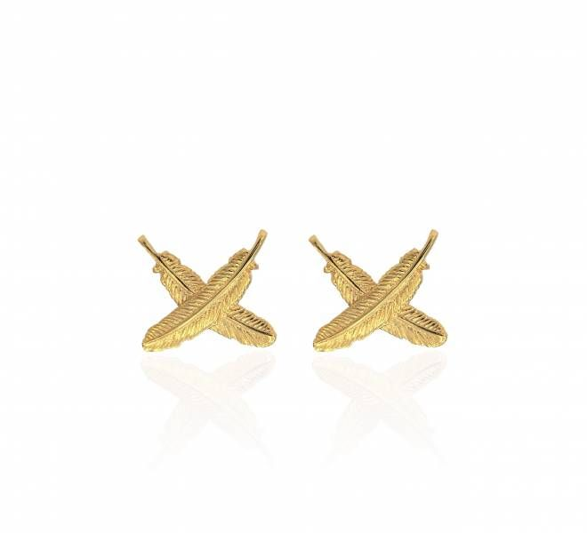 9ct Gold Feather Kisses Petite stud earrings by Boh Runga from New Zealand Mint.