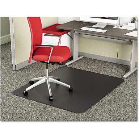deflecto SuperMat Frequent Use Chair Mat, Medium Pile Carpet, Beveled, 36 inch x 48 inch, Black