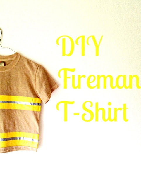 DIY Fireman T-shirt - Make a shirt that looks like a fire-fighter's uniform for all the little boys in your life! Super cute and easy tutorial. Click photo for details! :)