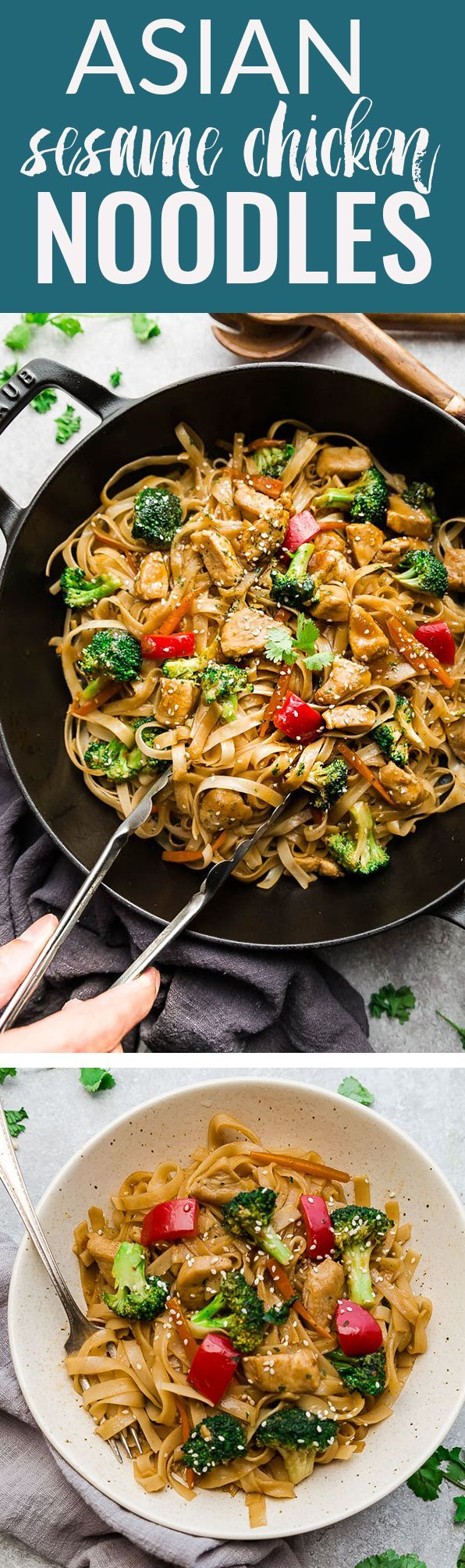 Asian Sesame Chicken Noodles – an easy one pot 30 minute meal perfect to curb those takeout cravings. Best of all, so simple to customize and made with chicken, veggies, gluten free rice noodles (or low carb shirataki noodles) and a delicious savory Asian-inspired sauce. Great for leftovers or Sunday meal prep for your lunch bowls and containers for work. #takeoutfakeout #chinesenoodles #noodles #chinesefood #recipe #sesame #chicken #glutenfree