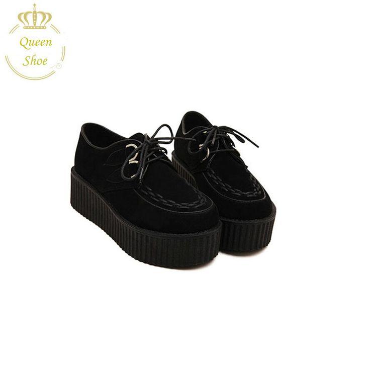 2015 Мода Черные Замшевые Британский Гот Панк Криперс Квартиры обувь зашнуровать Череп Лодка Обуви Harajuku туфли на платформе туфли на платформе
