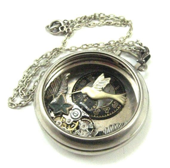 Hummingbird Pocket   Silver Steampunk pocket by JewelsByNature,