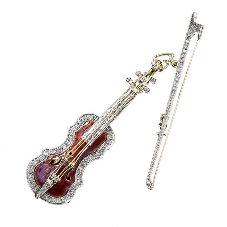 Alilang Elegant Light Topaz Brown Crystal Violin Bow Cello Fiddle Guitar Music Instrument Brooch Pin
