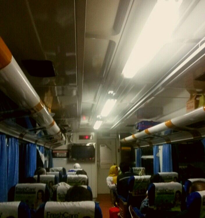 Inside the train carriage at 00:53 from Jakarta to Malang
