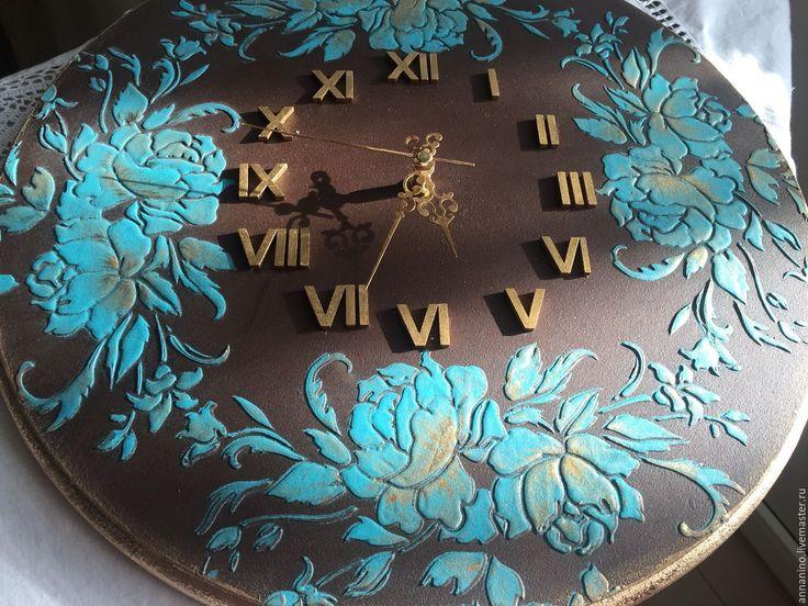 Купить Часы настенные Бирюза в шоколаде - часы, часы настенные, часы интерьерные