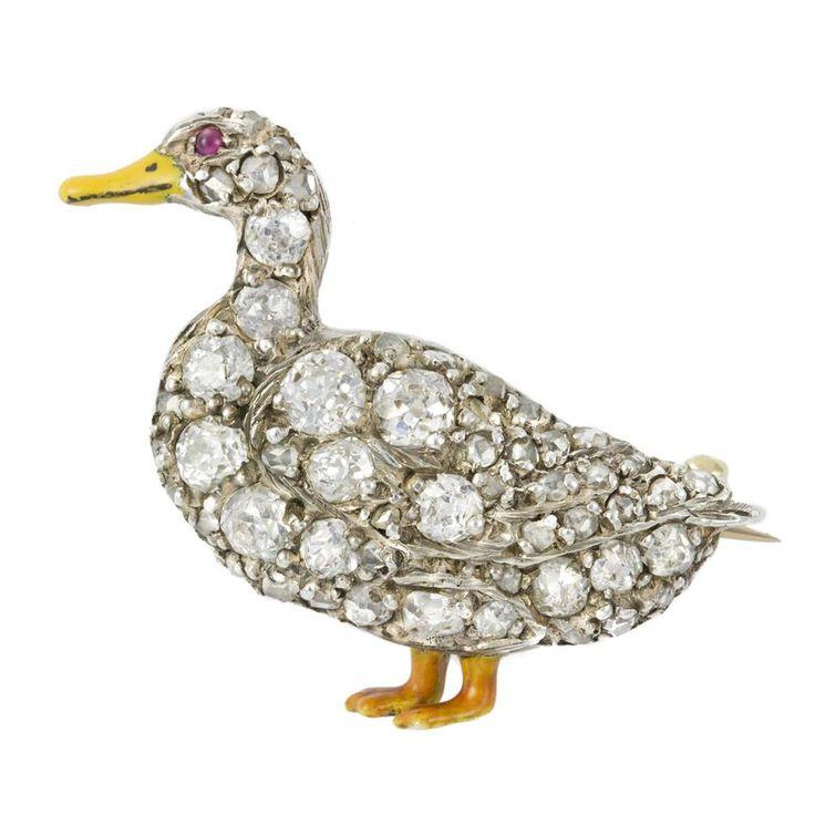 A diamond-set duck brooch - Bentley & Skinner