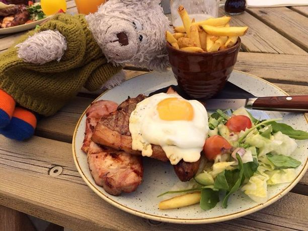 South Newington, England — by Bear Will Travel. WOW...What a dinner this was. Mixed Grill with trice cooked fries on the side. A gorgeous sunny afternoon at The Duck...