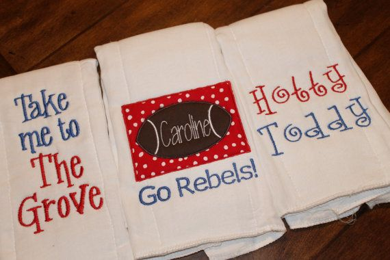 Set of three Ole Miss burpclothsyou choose by annabeesdesign, $24.50