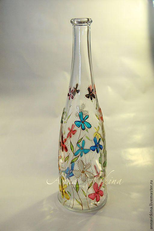 Купить Бутылка с цветами, ручная роспись по стеклу - Витраж, Витражная роспись, стекло