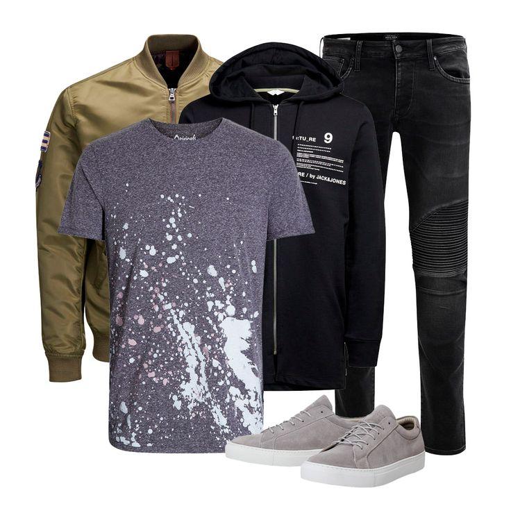 Cool urban style: biker black denim jeans with knee detailing, grey suede sneakers, black graphic hoodie, olive green bomber jacket and a paint splash printed tee | JACK & JONES