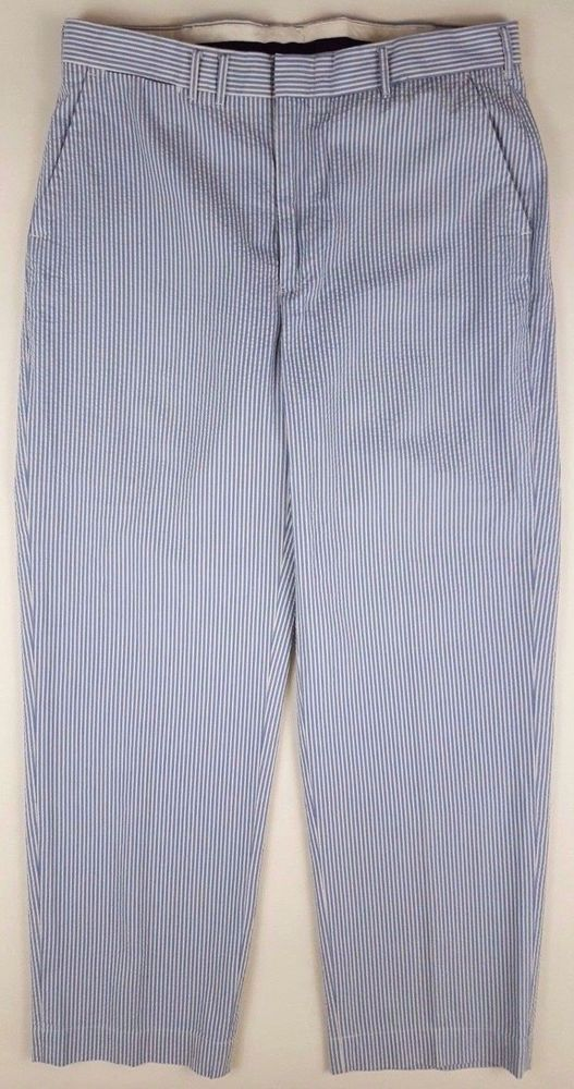 POLO Ralph LAUREN Striped SEERSUCKER Pants BLUE White TROUSER 34 30 Mens SIZE Sz #PoloRalphLauren #DressFlatFront