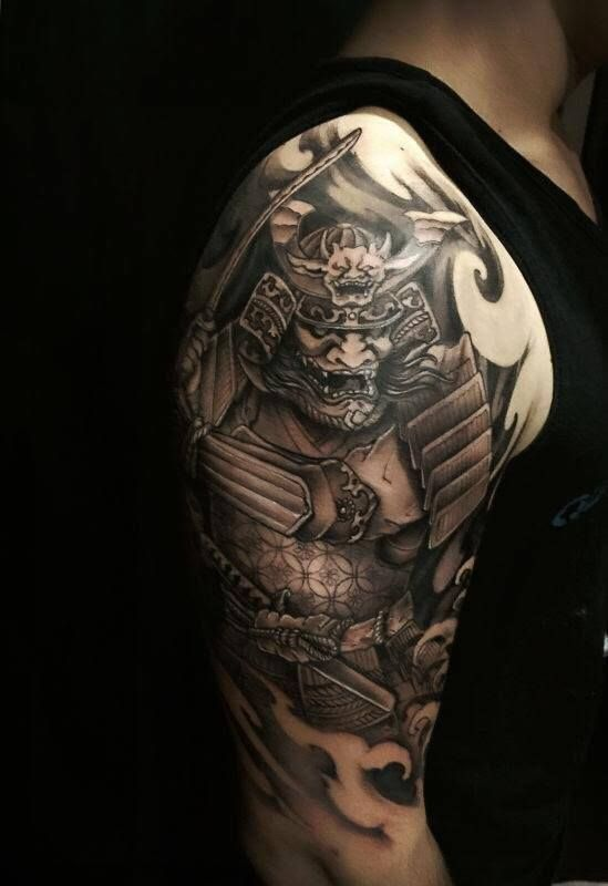 Black Ink Samurai Warrior Tattoo On Right Half Sleeve Tatouage