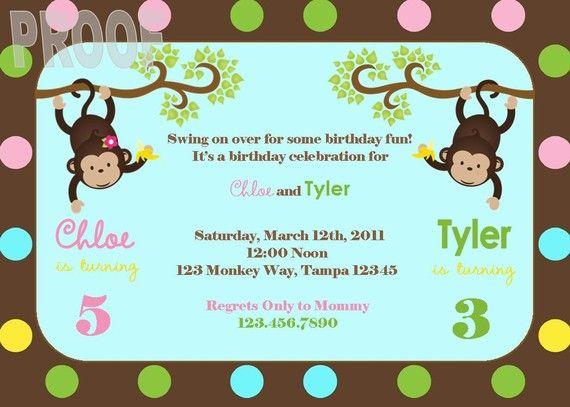 The 25 best joint birthday parties ideas on pinterest twin new monkey joint birthday party custom invitation stopboris Gallery
