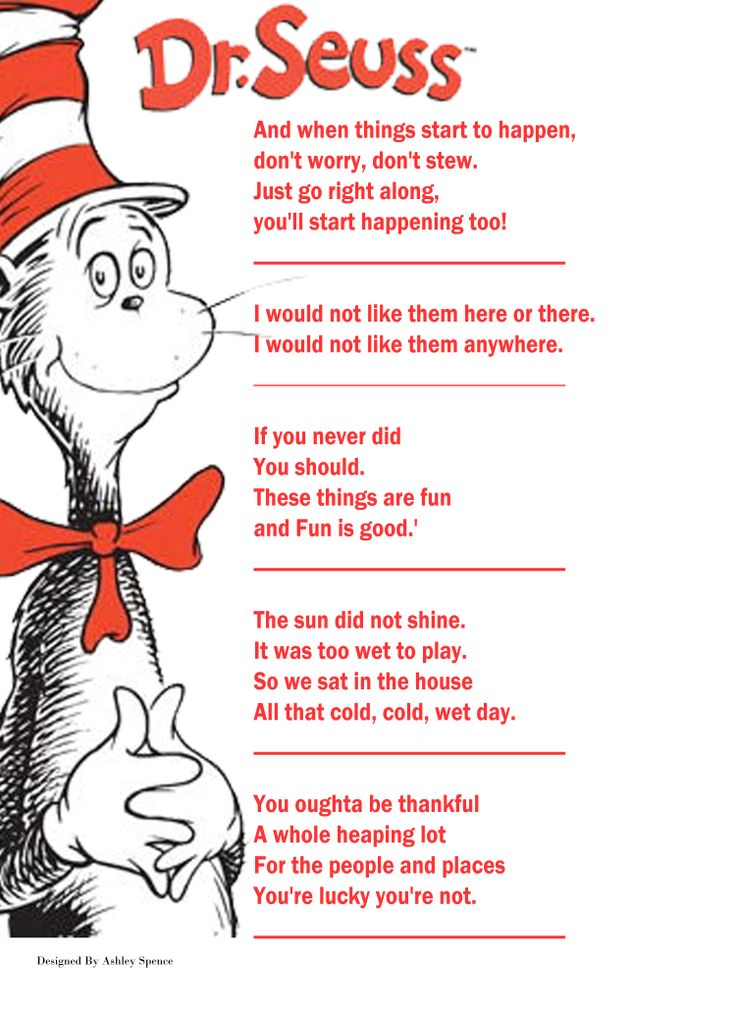 Baby shower game #3 Dr. Seuss book quotes, Name the book ...