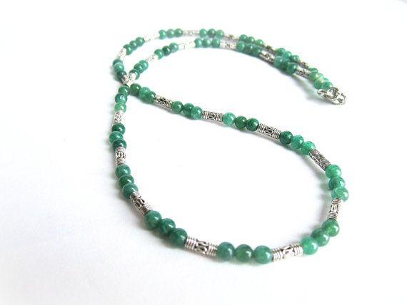 Green aventurine necklace mens mens stone by Bravemenjewelry