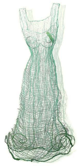 JOANNA SKURSKA ~ Viktoria (2002) Telephone wire dress sculpture | via Red Corridor Gallery > Objekte > JO23 Telephondraht