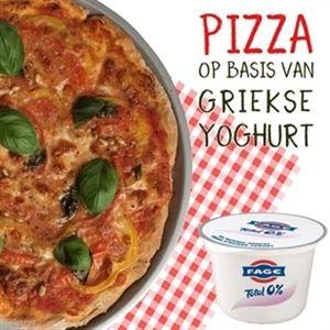 Pizza van Griekse yoghurt