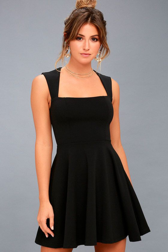 Feel And Look Like Royalty In The Royal Court Black Skater Dress Medium Weight Knit Fabric Falls From Wide Tapering Straps Into A Square Neckline