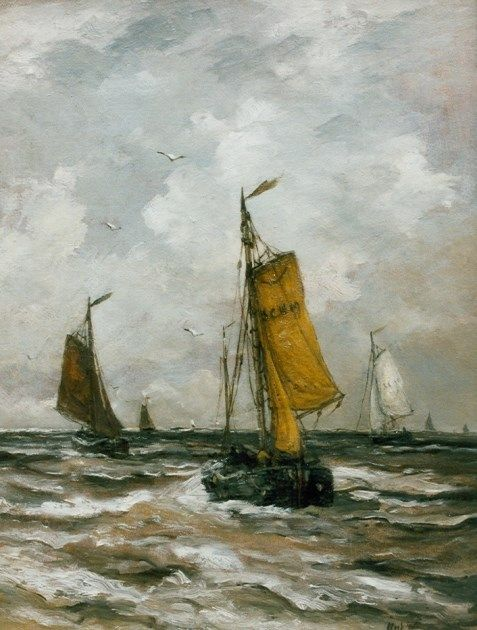 Hendrik Willem Mesdag (Groningen 1831-1915 Den Haag) Returning barges - Dutch Art Gallery Simonis and Buunk Ede, Netherlands.