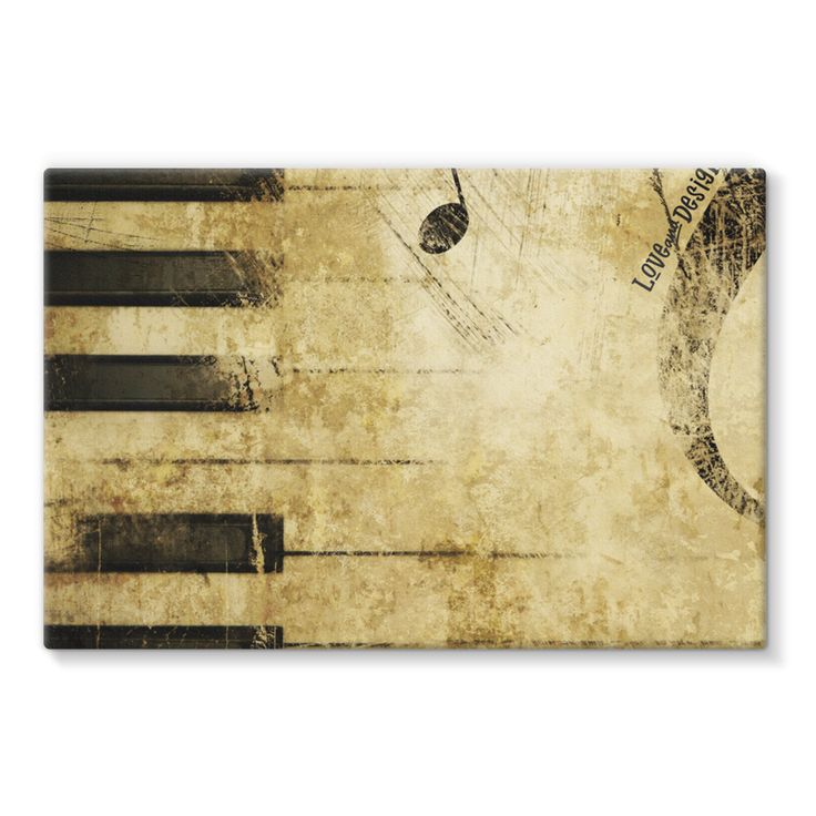 Love and Design Music and Piano Brand Stretched Eco-Canvas