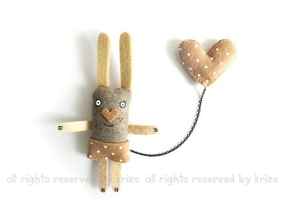 Plush Bunny Brooch, Cute Animal Jewelry, Heart, Animal Brooch