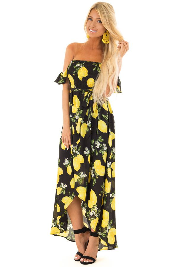 15fafc437910 Black Cold Shoulder Maxi Dress with Tropical Lemon Print | Dresses. |  Dresses, Cute maxi dress, Boutique dresses